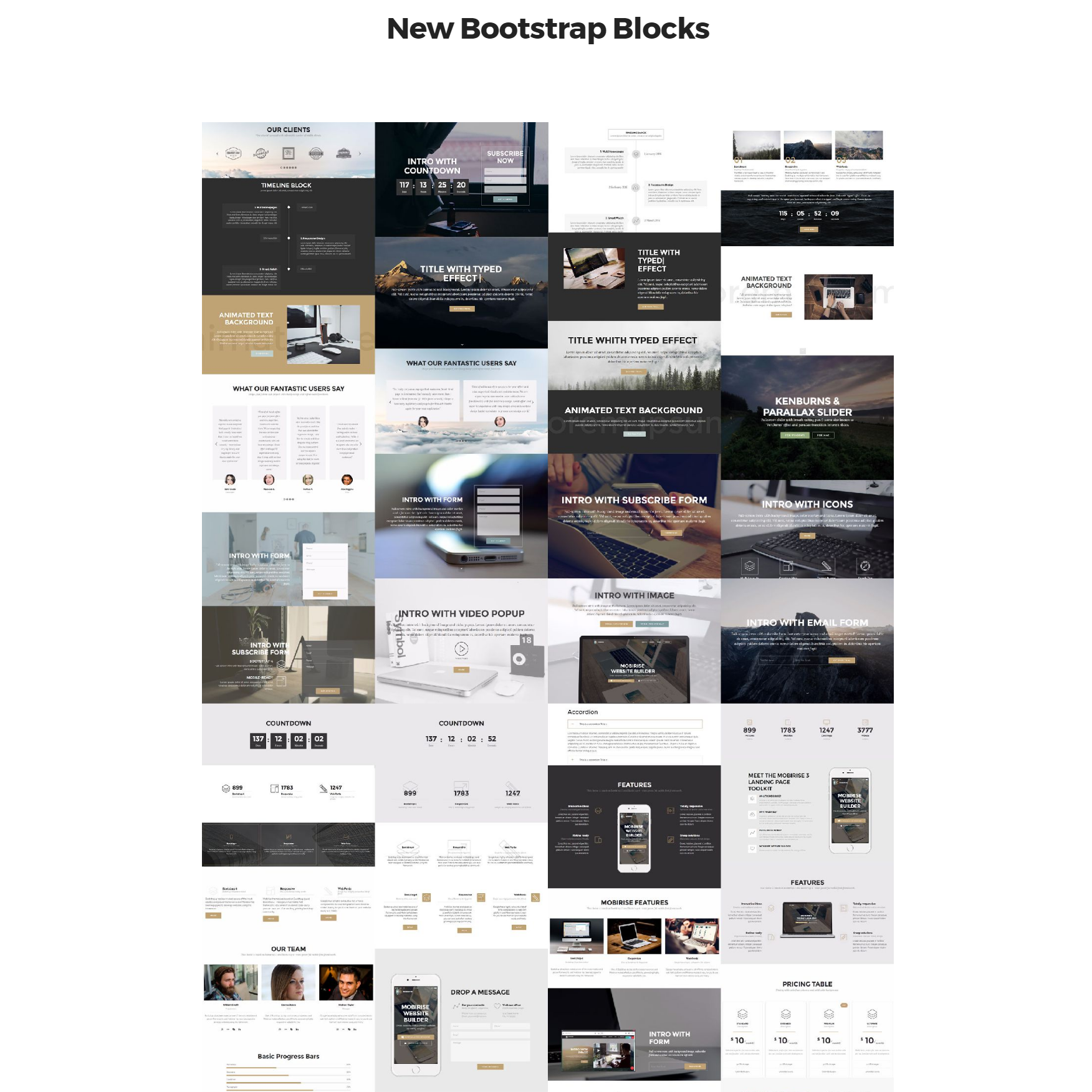 CSS3 Bootstrap 4 mobile-friendly blocks Templates